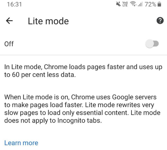 lite mode chrome PNG