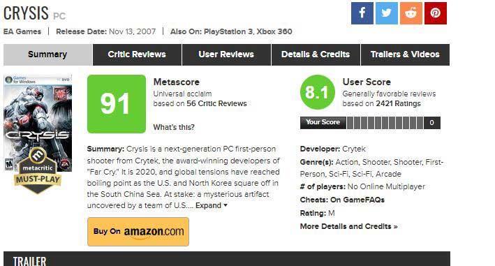 Crysis 1 metacritic JPG