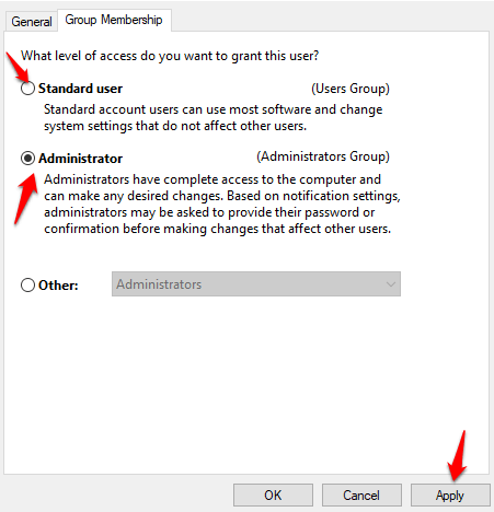 18 you need permission perform this action error users this computer group membership tab user account png