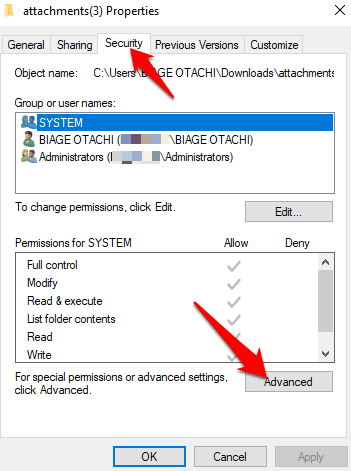 26 you need permission perform this action error full control permissions properties security tab advanced png