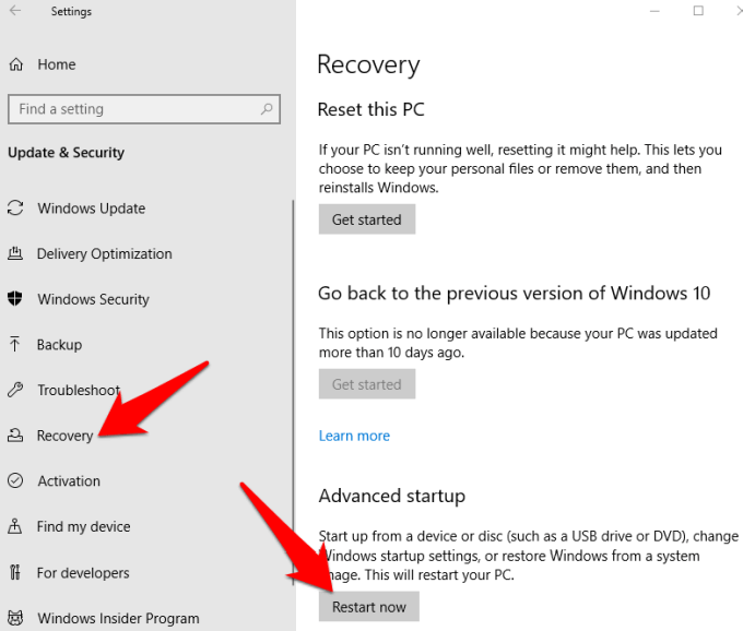 f8 not working windows 10 recovery restart now png