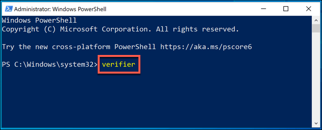 1 PowerShell Launch Driver Verifier png