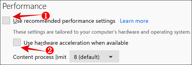 Disable Performance Hardware Acceleration in Firefox png