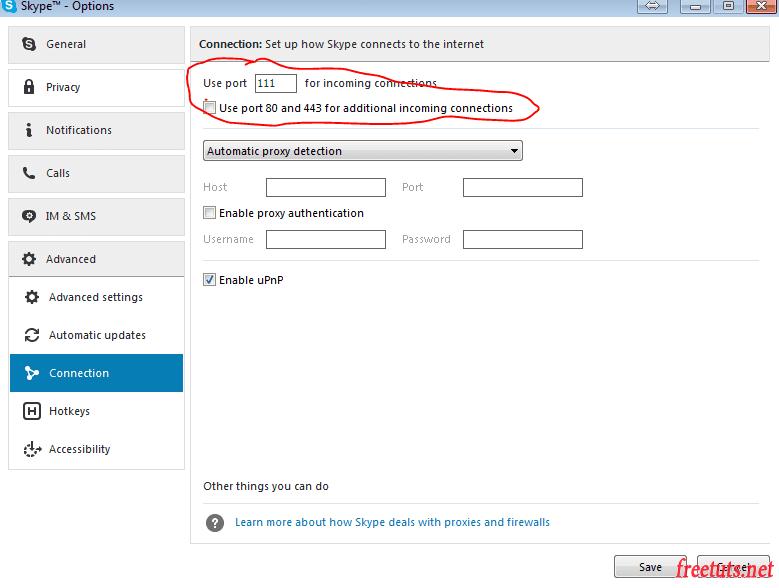 Cách thay đổi port cho skype