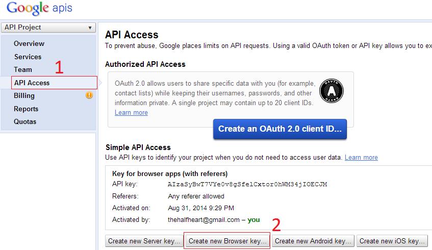Đăng ký google map API để lấy key sử dụng google map
