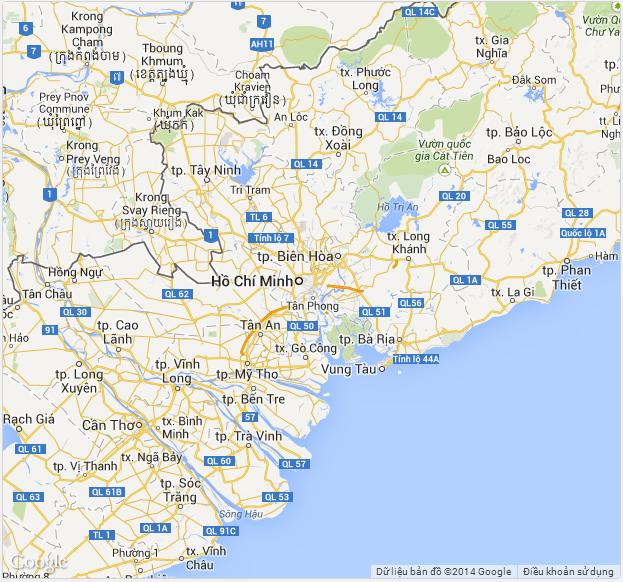 Hiển thị bản đồ google map thành phố Hồ Chí Minh ở dạng xóa Default UI
