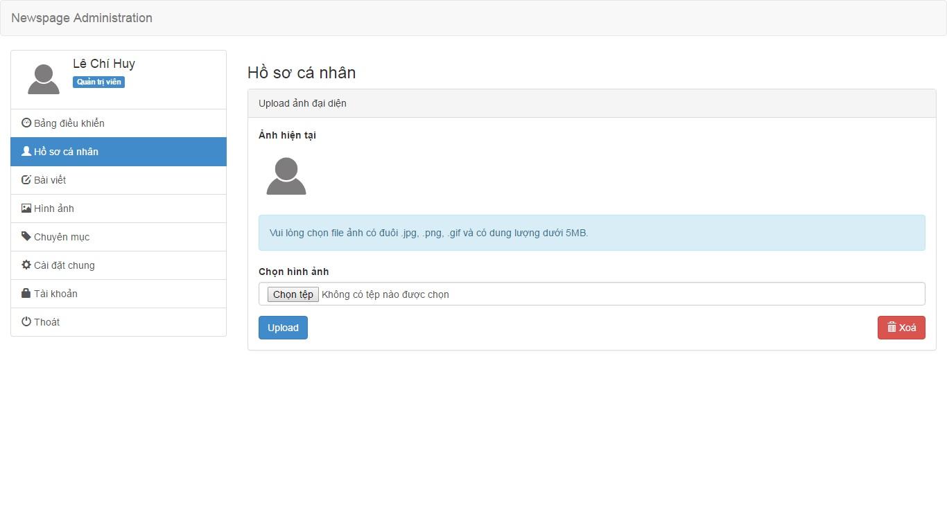 php trang tin tuc cac chuc nang cua profile admin ket qua template upload anh dai dien jpg