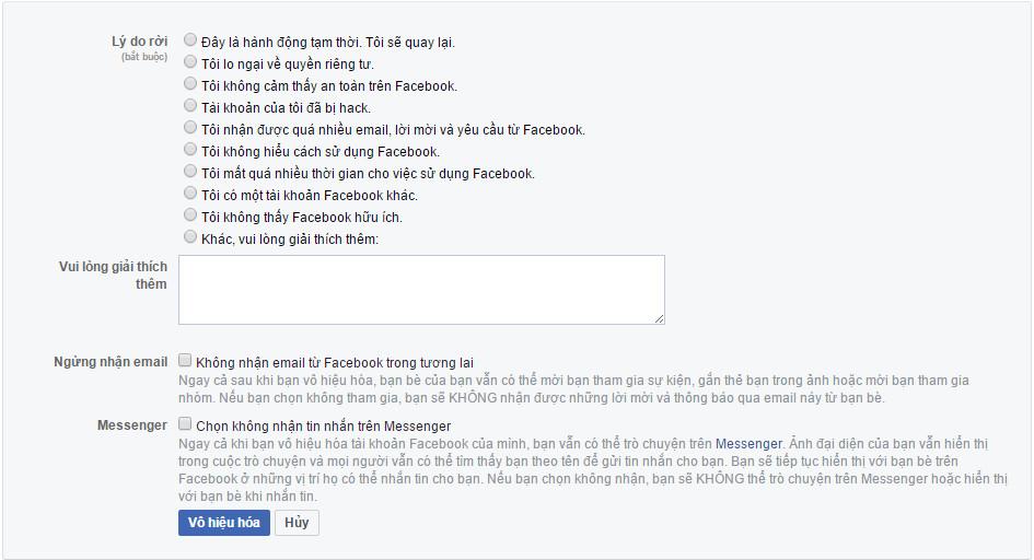 Xóa tài khoản facebook tạm thời