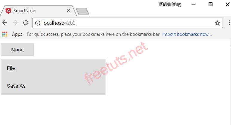 Kết quả hiển thị khi click vào button menu