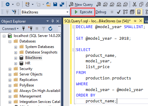 Stored Procedure Variables execute a code block png
