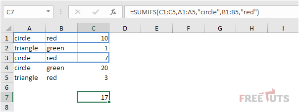 sumifs function png