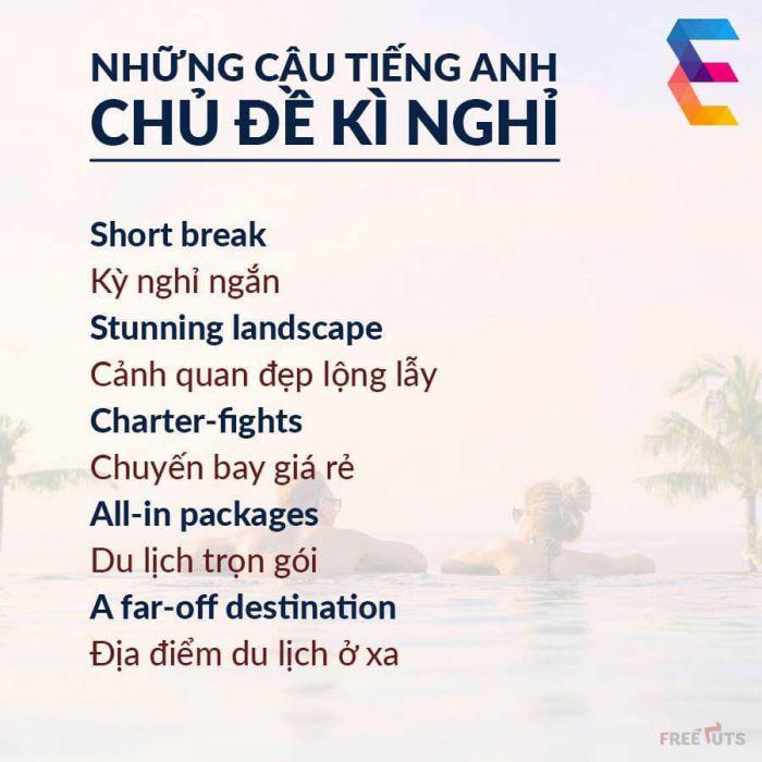 [Hình ảnh] - Các từ vựng chủ đề kỳ nghỉ trong tiếng Anh