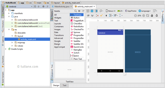 android hello world app layout xml file png