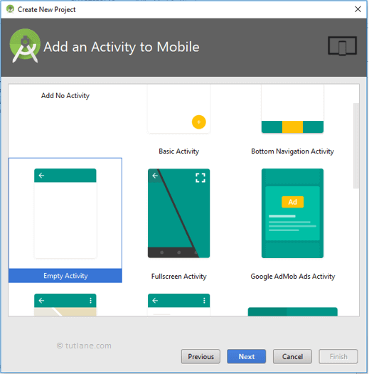 android hello world select empty activity png
