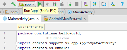 android run application using run button png
