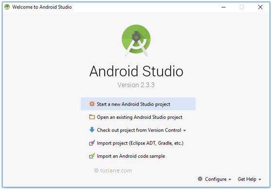 android studio after installation welcome window png