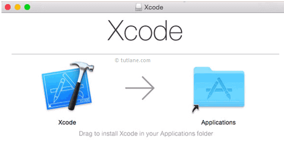 drag drop xcode to application folder to install in ios png