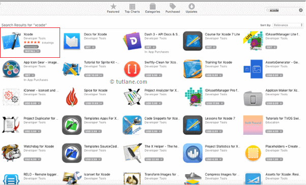 search xcode in apple app store to install png