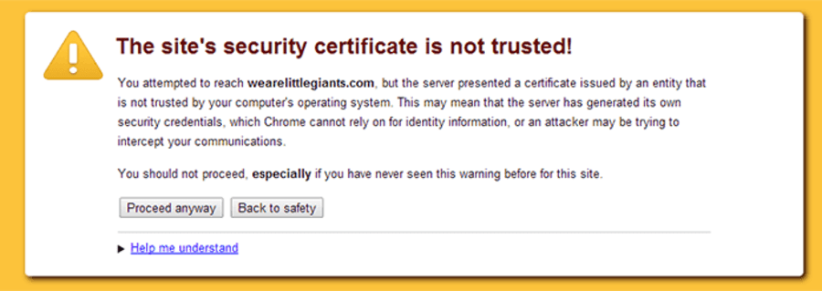 sites security certificate is not trusted png