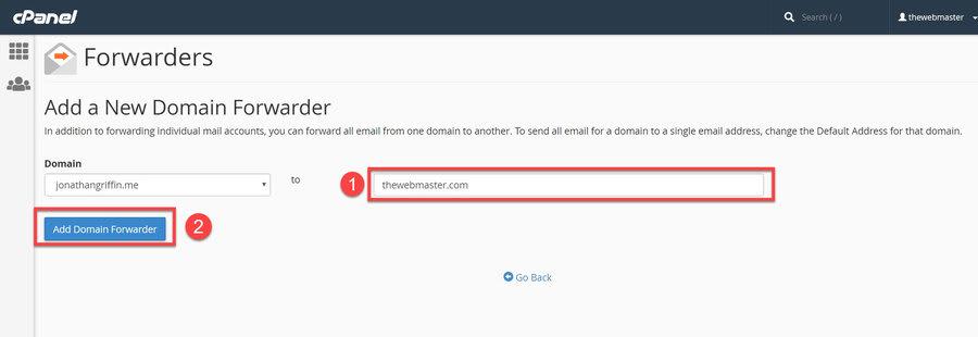 add a new domain forwarder jpg