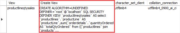 MySQL RENAME view example png