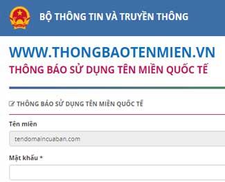 Hướng dẫn khai báo tên miền quốc tế lên trang thongbaotenmien.vn