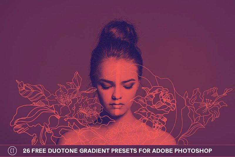 26 Free Duotone Gradient Presets for Adobe Photoshop jpg