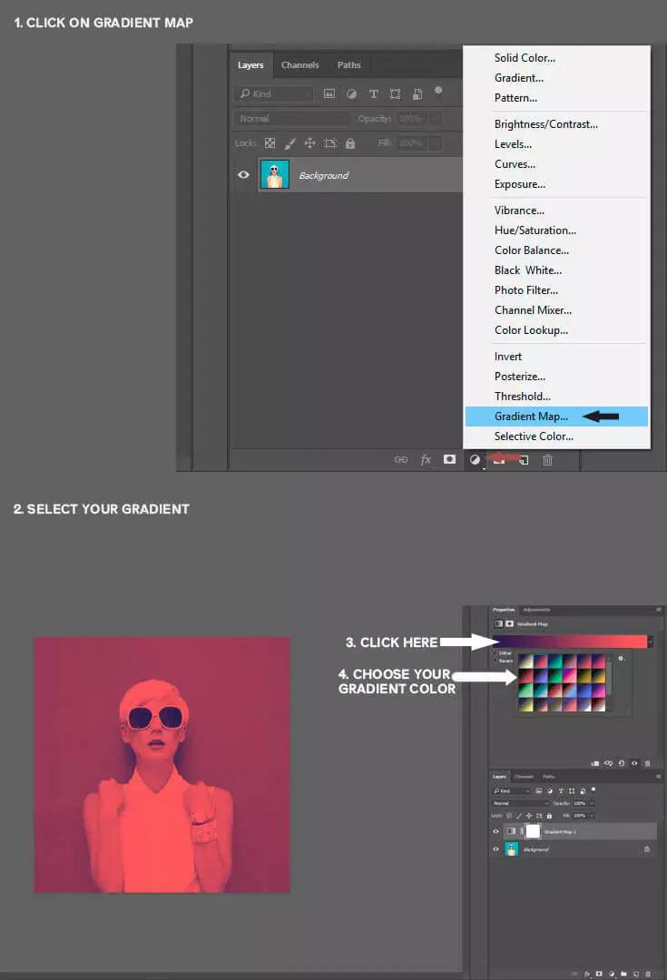 Installation 26 Free Duotone Gradient Presets for Adobe Photoshop Pinterest jpg