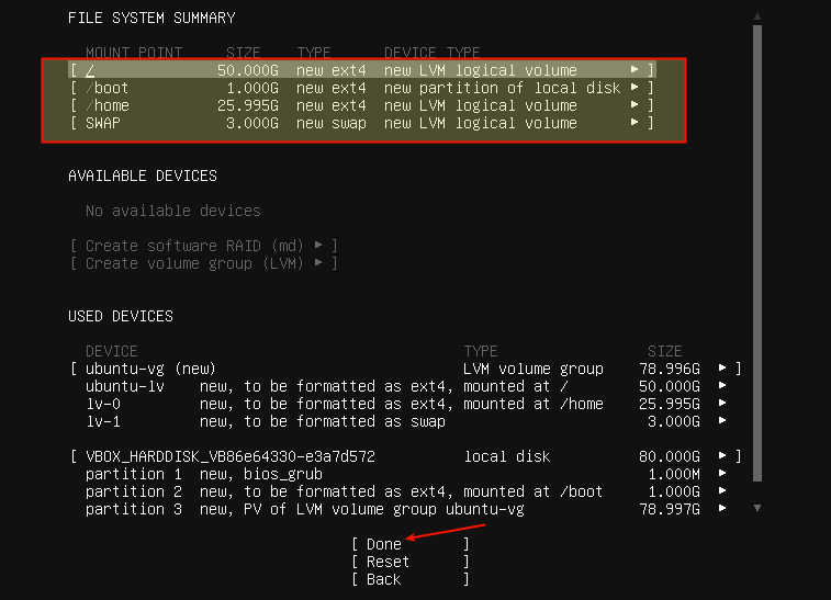 new file system summary after creating partitions png