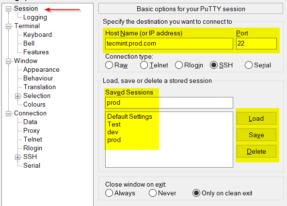 Putty Remote SSH Connection png