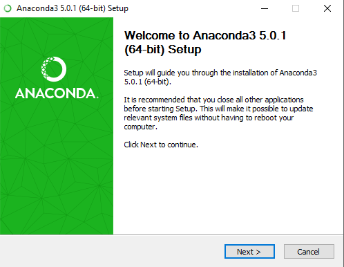 Welcome to Anaconda3 installation screen. Click next to proceed with the installation.