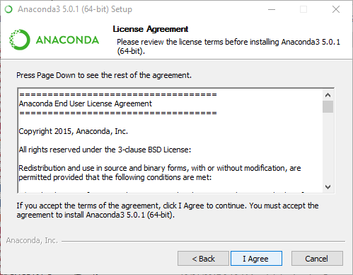 Anaconda End User License Agreement. Click I Agree to proceed